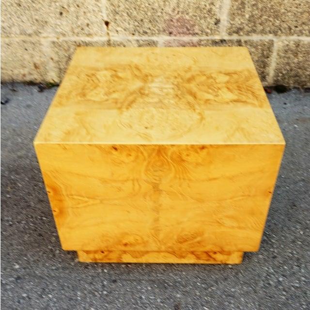 Milo Baughman Era Burled Cube Table - Image 3 of 7