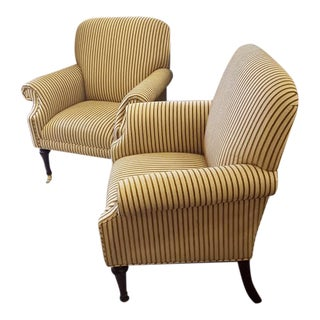 Stripe Fabric Rolled Arm Chairs - A Pair