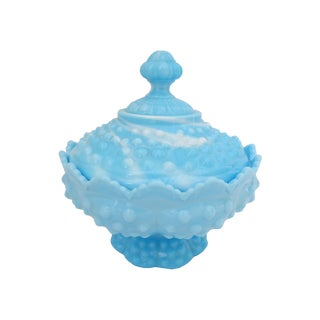 Blue Hobnail Covered Candy Dish