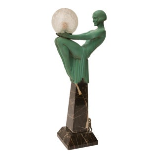 """Art Deco Figural-Female Sculpture Table Lamp Titled """"Engime"""" by Max Le Verrier"""