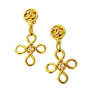 Chanel Knot Dangle Earrings