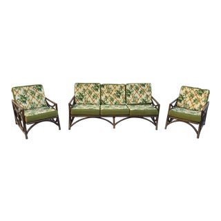Mid-Century Modern Rattan Sofa and Chairs - Set of 3
