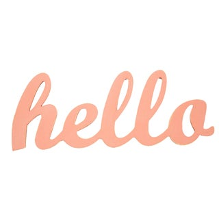 Contemporary Coral Hello Sign