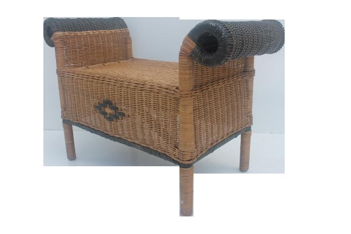 Vintage Wicker Vanity Bench Or Stool