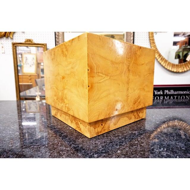 Milo Baughman Era Burled Cube Table - Image 4 of 7