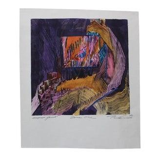 Paul Crimi Vintage Abstract Monoprint Painting