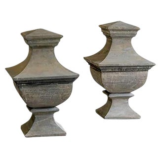 Pair of Vintage French Stone Architectural Garden Finials circa 1930
