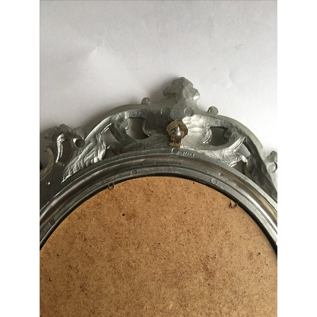 Image of Antique Italian Baroque Gilted Scroll and Flower Oval Mirror