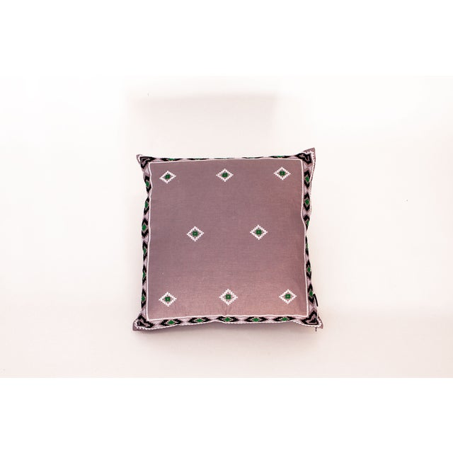Purple & Green Mexican Embroidered Pillow - Image 2 of 3