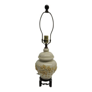 Chinese Floral Bisque Ceramic Lamp