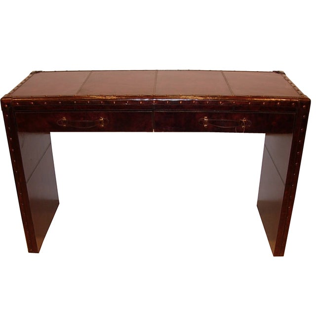 Image of Leather Console Table With Two Drawers