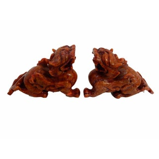 Soap Stone Fortune Foo Dogs - A Pair