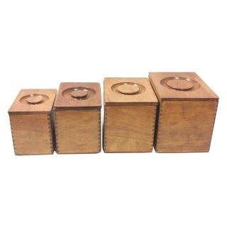 Mid-Century Wooden Canisters - Set of 4