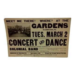 Concert & Dance Poster Gardens Black Americana Concert & Dance Poster