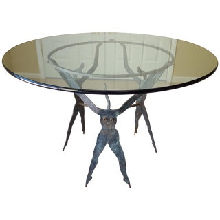 "Patinated Steel Figural Table - 48"" 3/4"" Glass"