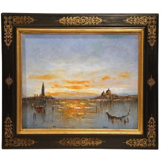 Mid-Century Framed Paintings of Venice - A Pair