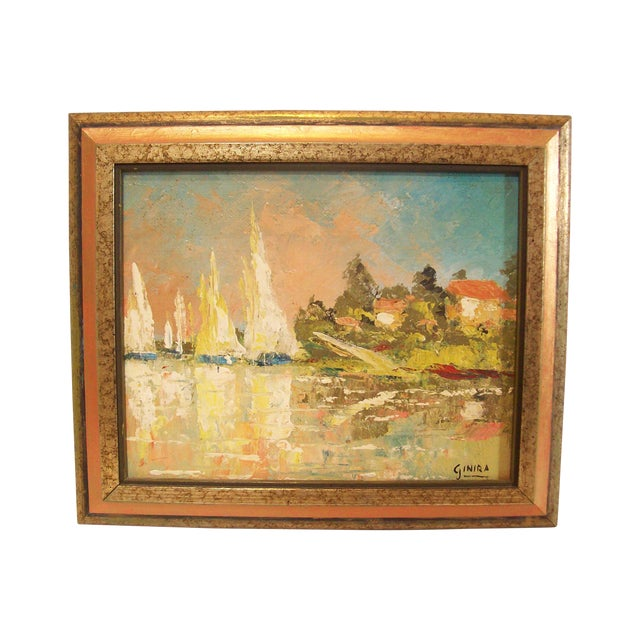 Vintage French Nautical Oil Painting - Image 1 of 7