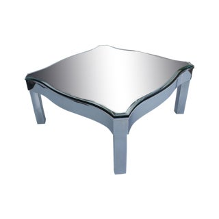 Milo Baughman Style Chrome Mirror Top Coffee Table