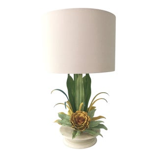 Tole Lilly Pad Flower Table Lamp