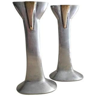 David Marshall Cast Aluminum & Brass Candlesticks- A Pair