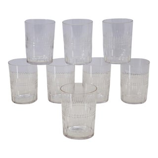 Antique Hand Cut Crystal Whiskey Tumbler Glasses - Set of 8