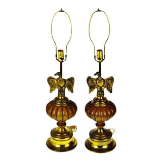 Vintage Brass Eagle Table Lamps - A Pair