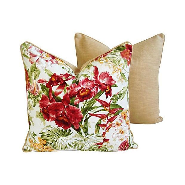 Image of Tropical Orchid Barkcloth Pillows - A Pair