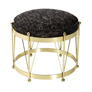 Mid-Century Modern Round Polished Brass Drum Stool