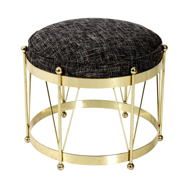 Mid-Century Modern Round Polished Brass Drum Stool - Image 1 of 4