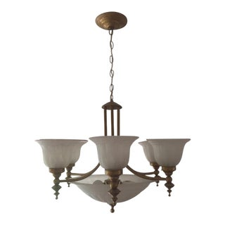 Gilt Metal 6 Light Chandelier