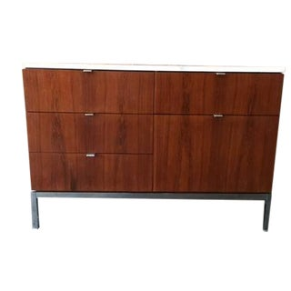 Mid Century Florence Knoll Marble Chrome Credenza