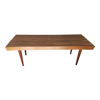 Mid-Century Slatted Bench Table