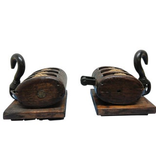 Antique Sail Ship Block Tackle Bookends - A Pair