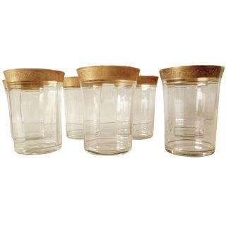 Gold Rim Crystal Tiffin Tumblers - Set of 7