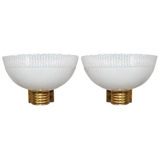 Venini Murano Ribbed Cup Sconces- A Pair