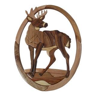 Wood Buck Wall Plaque Art