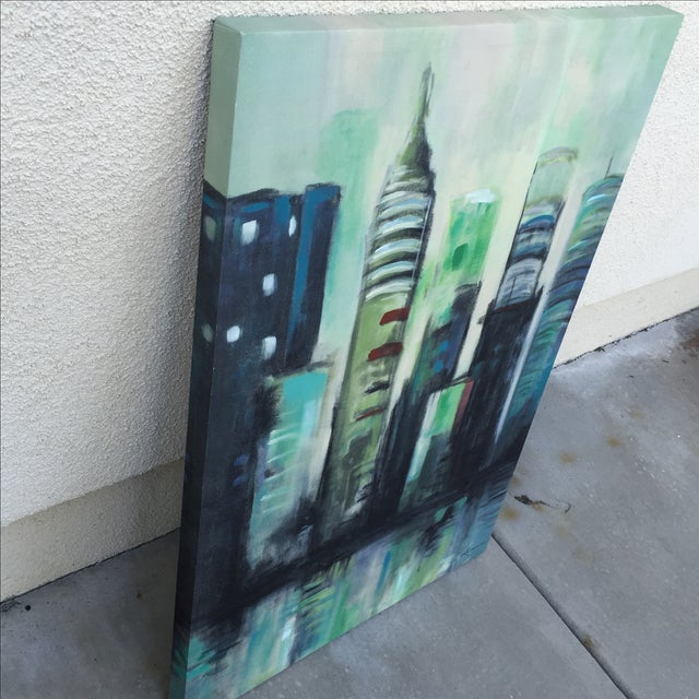 Twilight Cityscape on Canvas - Image 5 of 11