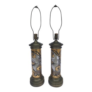 Hand Painted Floral Glass & Brass Lamps - a Pair