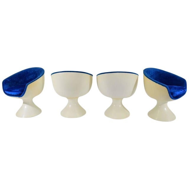 Four Space Age Style Bubble Chairs in Blue Velvet by Chromecraft - Image 1 of 7