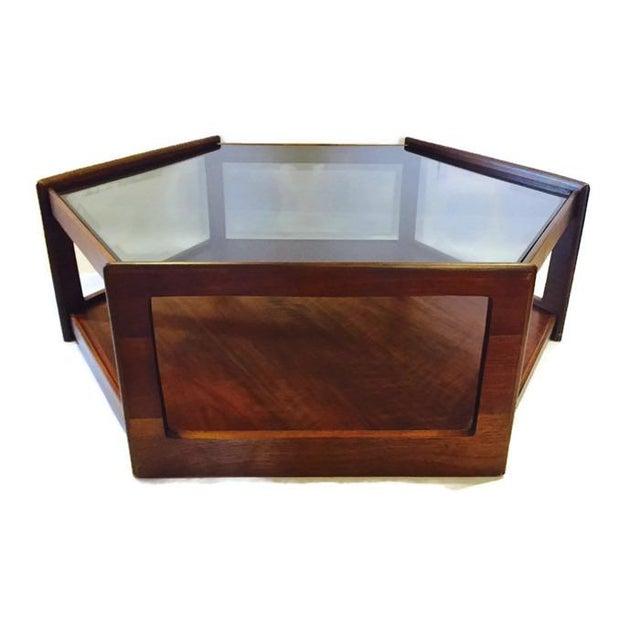 Mid Century Modern Hexagon Coffee Table Walnut Smoky Glass Top Chairish