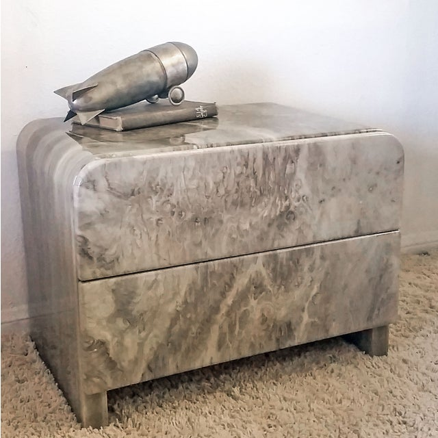 1970's Faux Marble Nighstands - Pair - Image 3 of 5