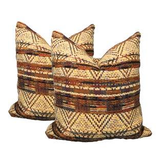Yellow Tribal Pillows - A Pair