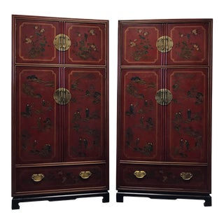 DREXEL HERITAGE Mai Ting Asian Chinoiserie Style Armoires - Pair