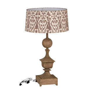 Carved Wood Table Lamp