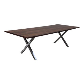 Milo Baughman Style Brushed Nickel X-Base and Brazilian Rosewood Dining Table