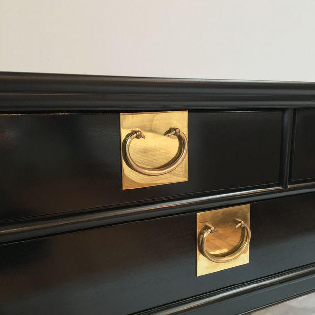 Century Black Console with Brass Hardware - Image 9 of 10