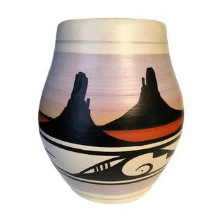 Mid-Century Navajo Style Sunset Vase