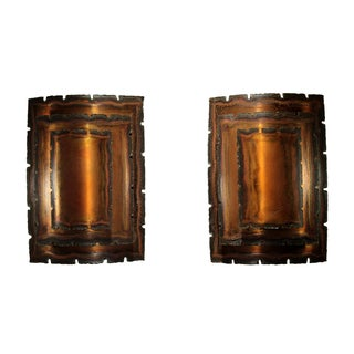 Vintage Danish Brutalist Copper Sconces - A Pair