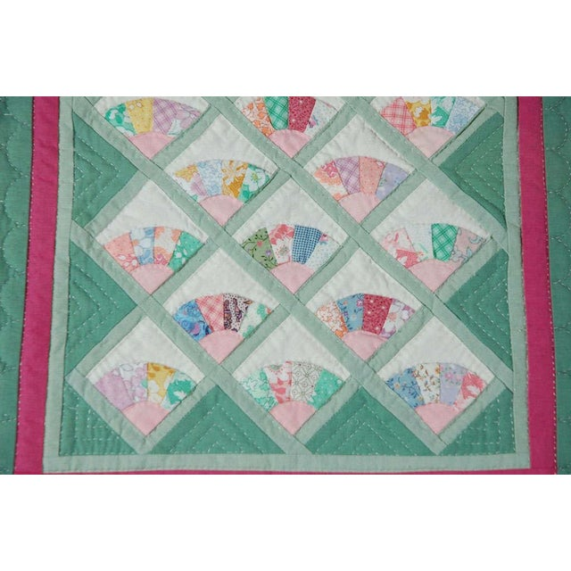 Miniature 1940s Pastel Fans Mounted Doll Quilt - Image 3 of 8