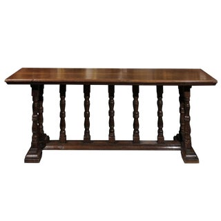 Italian Early 19th Century Walnut Console Table with Unusual Trestle Base